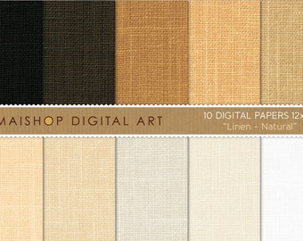 Digital Paper 'Linen Natural' White, Beige, Brown, Camel... Printable Scrapbooking Papers for Photo Books, Invitations, Decoupage...