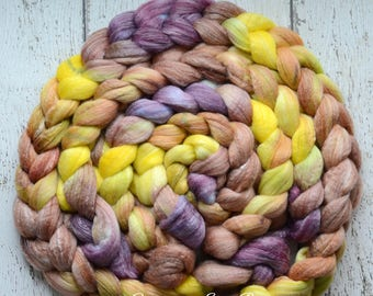 Merino/ Bamboo 'Lemon Plum Tart' 4 oz hand dyed combed top, CreatedbyElsieB roving for spinning fiber, brown, yellow merino roving