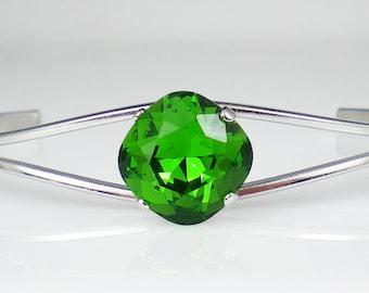 Fern Green Rhinestone Bangle Bracelet Swarovski Wedding Jewelry Bridesmaid Jewelry