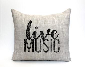 "music teacher gift, music lover, music pillow, music gift, music room decor, music room pillow ""The Live Music"""