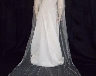 Victorian Style Wedding Veil with Swarovski Crystals Cathedral Length