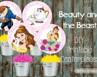 Printable Belle Centerpieces, Princess Belle Party Decorations, Princess Belle Party Supplies, Beauty and the Beast DIY Centerpieces