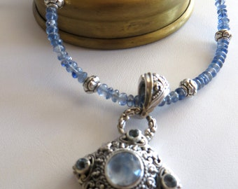 Kyanite Necklace With Moonstone Pendant-Bali Pendant Necklace