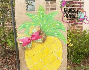 Summer Garden Flag, Pineapple Burlap Flag, Burlap Flag, Garden Flag, Pineapple, Summer