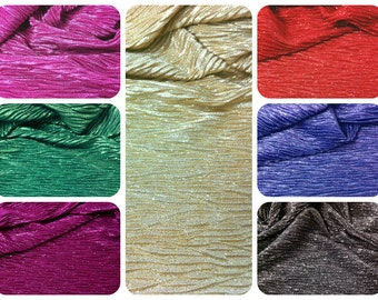 Sparkly All-Over Glitter on Colored Crinkle Stretch Polyester Spandex Fabric - 58 to 60 Inches Wide - By the Yard or Bulk