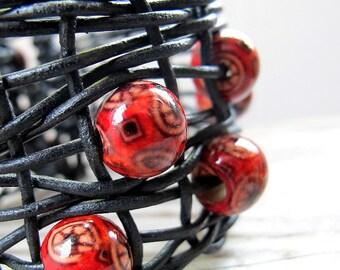 Black Cherry Leather Cuff