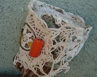 Brocade Bead and Lace Altered Cuff victorian boho style