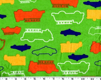 1 Yard, Multi Colored Outlined Cars on Green Flannel