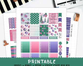 Sweet Christmas printable planner stickers for Erin Condren LifePlannerTM watercolor christmas tree gifts ornaments stocking cut files kit