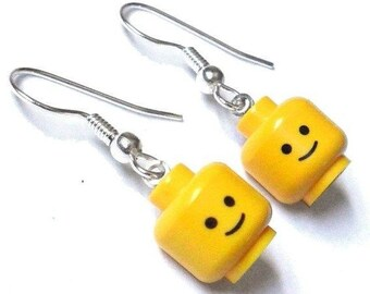 Lego jewel, upcycled lego earrings, from recycled vintage Lego from the 1970s and 1980s.