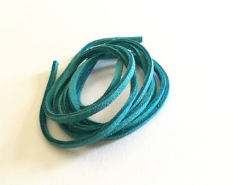 1 meter of turquoise blue suede