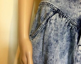 1980s Stonewashed Jean Midi Skirt by Kayo of California