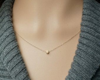 Tiny Gold Sparkle Ball Necklace / Simple Stardust Sparkling Bead on a Gold-Filled Chain ... all 14k Gold