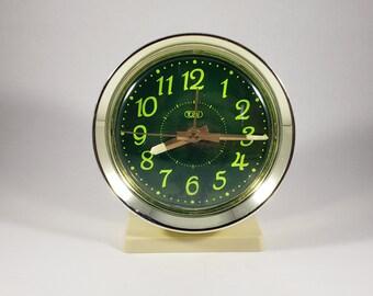 Alarm Clock Vintage Wind Up Big Ben Style Clock     Tozai    Neon Green Glow in the Dark Hands     Vintage Clock    Beside Table Clock