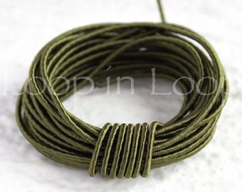 Olive Dark Green SILK cord Wrapped Silk Satin rope 1.5 mm thick, organic natural hand spun silk, polyester core, for Jewelry (3 feet)