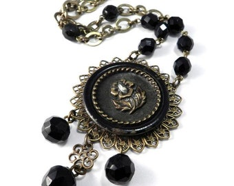 Mourning Jewelry ANTIQUE BUTTON Necklace - Triple Drop Edwardian Victorian Steampunk Jewelry by Compass Rose Design