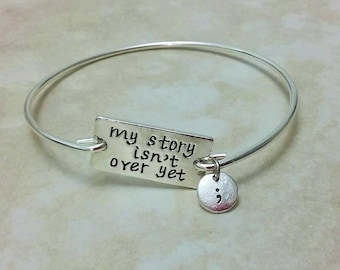 My Story Isn't Over Yet Semicolon Charm Silver Plated Bangle 8 Inches