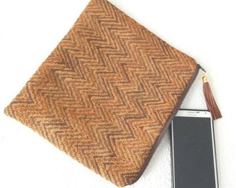 CLEARANCE - Upholstery purse, brown chevron pouch, floral clutch, zipper pouch, lined pouch, flat pouch, fashion accessory, womens accessory