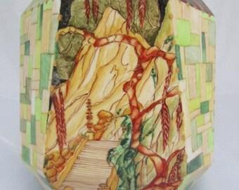 art deco - Hand-painted and gilt porcelain vase - tiger and Landscape expert on Japan