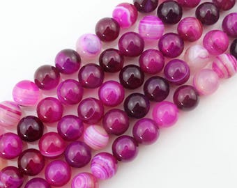 4mm 6mm 8mm 10mm Agate Beads Hot Pink Agate Beads Gemstone Beads Round Ball Beads Hot Pink Beads -about ---15inch --One Full Strand-NS105
