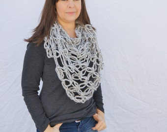 Chunky triangle scarf/Chunky Shawl, neckwarmer/ The Durham Scarf-grey marble