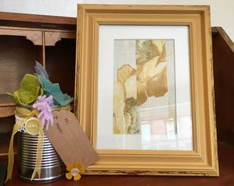 Painted Frame, , Upcycled, Photoframe, Mustard Frame, Yellow, Gold Leaf, Special Gift, Birthday, New Home