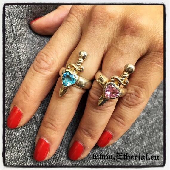 Etherial Jewelry Rock Chic Talisman Luxury Biker Custom Handmade Artisan Pure Sterling Silver .925 Handcrafted Designer Heart Ring with Gem