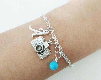Camera bracelet Personalized bracelet Camera Jewelry Gift bracelet Initial bracelet