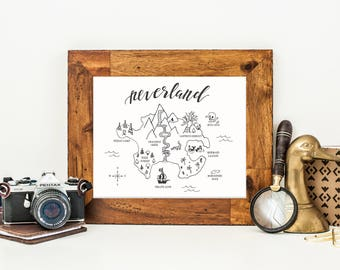 Neverland Map Art Print, Hand Lettered Decor, Peter Pan Art Work, Hand Lettered Art Print, Neverland Nursery Decor, Peter Pan Decor