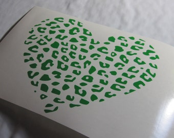 Cheetah Heart Vinyl Decal / Sticker *Available in 24 Colors*