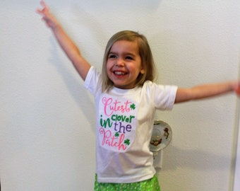 Girls St. Patrick's Day shirt, Girl St Patrick's day outfit, Shamrock shirt, Green floral ruffle shorts, Cutest Clover in the patch shirt