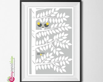 Woodland Multiples Twin Baby Shower Guest Book Tree - Signature or Fingerprint - With Hatching Bird DIY and Printable (Digital File)