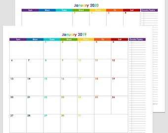 2018, 2019 or 2020 12-Month Calendar with Task – letter size 8 1/2″ x 11″