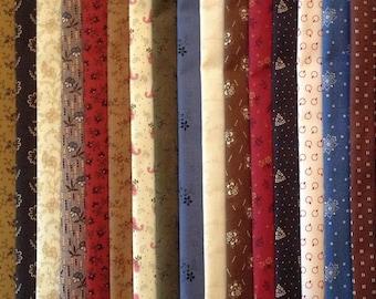 FREE SHIP 100 Civil War 1800's Reproduction Fat Quarters Quilt Shop Quality Cotton