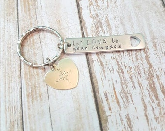 Let LOVE be your compass hand stamped keychain with  heart