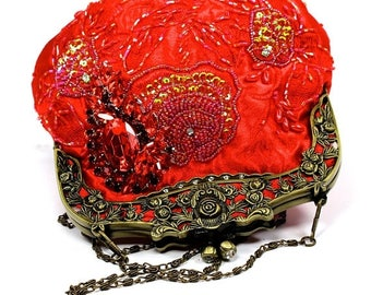 SALE SALE ON Sale Red Bridal Clutch, Red Satin Crystal Bridal Clutch, Red Wedding Purse, Bridesmaid Clutch, Red Satin Crystal Evening Bag