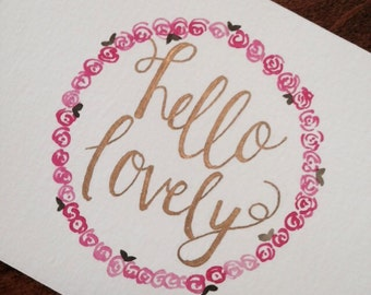 Hand Painted | Watercolor | Hello Card