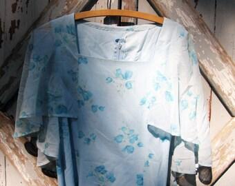 Vintage 70s 80s floral handmade flutter dress M L