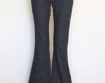 Dark Black Denim Flare Leg Jeans -xs