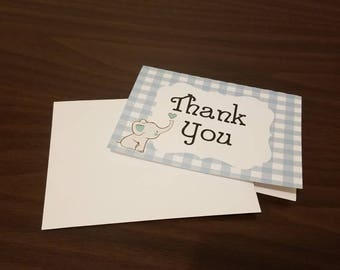 Baby Boy Thank You Cards - Blue, baby elephant, baby thank you