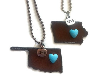 OKLAHOMA or IOWA state shaped love necklace made of Rustic Rusty Rustic Recycled