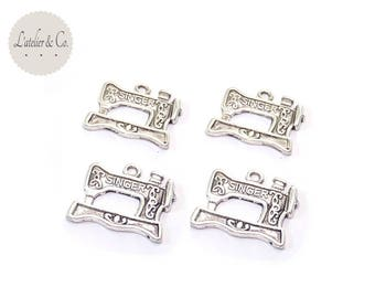 5 charms 22x18mm sewing notions-07 silver Sewing Machine