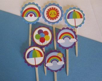 12 Rainbow Theme Cupcake Toppers