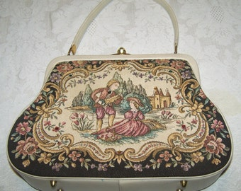 Beautiful 1940's embroidered purse with leather trim and handle