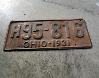 Antique License Plate - 1931 Ohio Plate - H 95 816  - Perfect for Display or Hot Rod