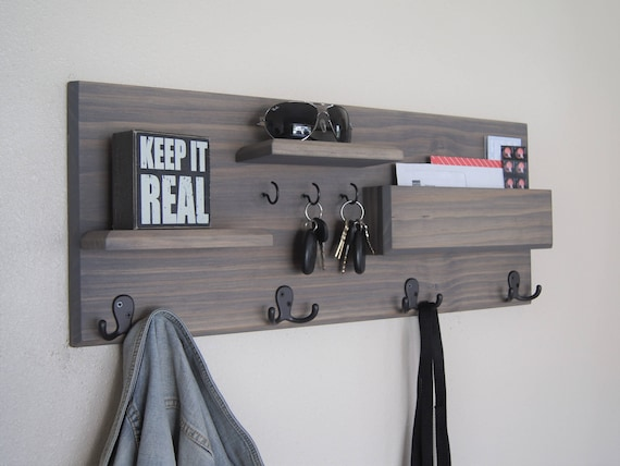 Coat hooks entryway organizer wall shelf key rack Wall mount entryway organizer mirror hallway coat rack key cabinet