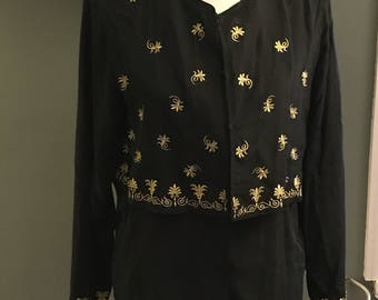 Diane Von Furstenberg Gold Black Embroidered Silk Blouse