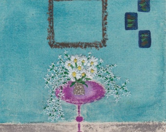 The Table, Hand Embroidery, Mixed Media, Watercolours, Fibre Art, Embroidery Art, Interiors, Unframed Embroidery