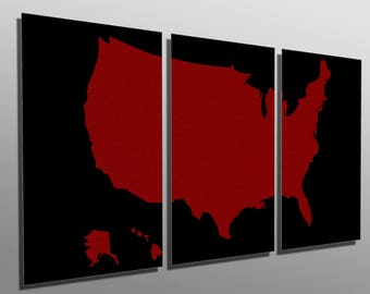 metal prints textured red us map 3 panel split triptych metal wall art hd aluminum prints for home office decor interior design