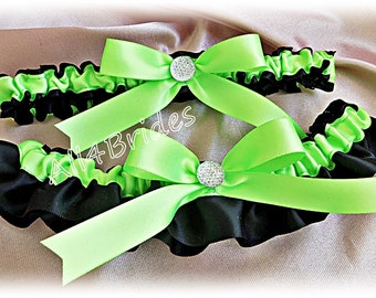 Neon Green and Black wedding bridal garters, keepsake and toss garter belt set